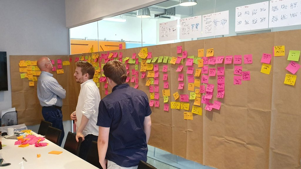 User story mapping session at a client's offices