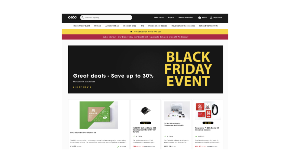 Screenshot of OKdo website showing Black Friday features