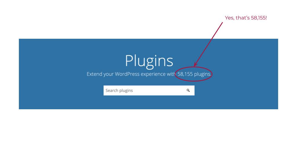 Screenshot showing available WordPress plugins