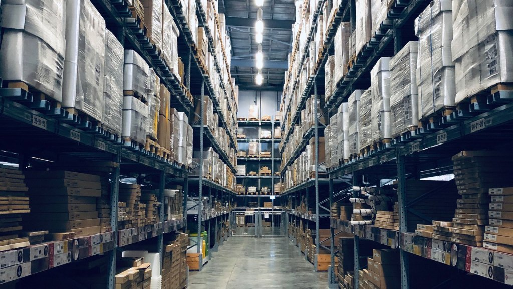 Warehouse with goods on shelves