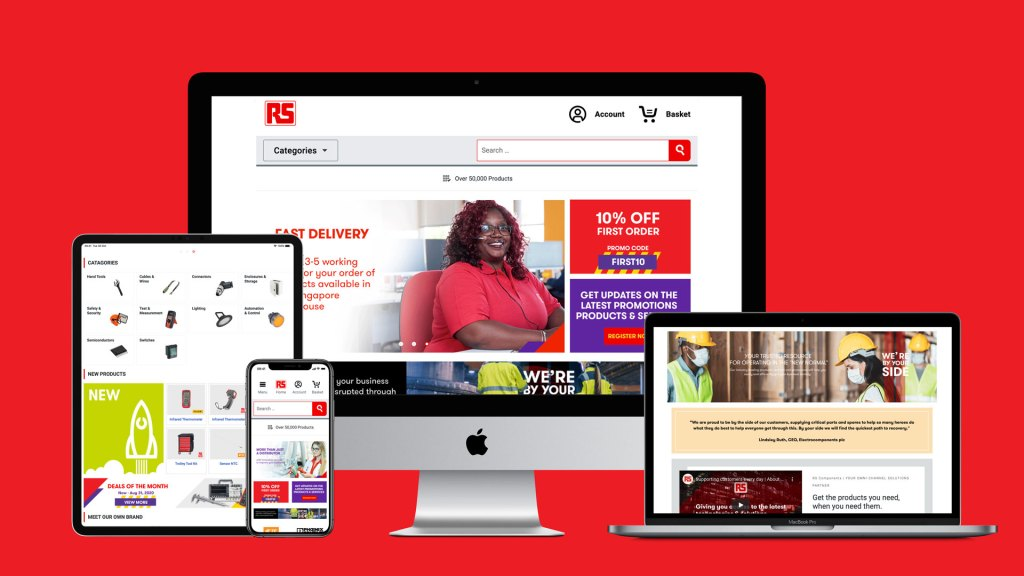 Screenshot of the RS Components website across various devices