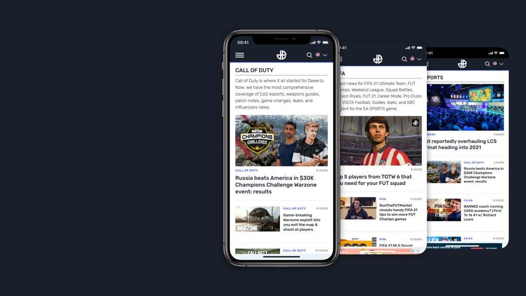 3x mobile screenshots showing the Dexerto site