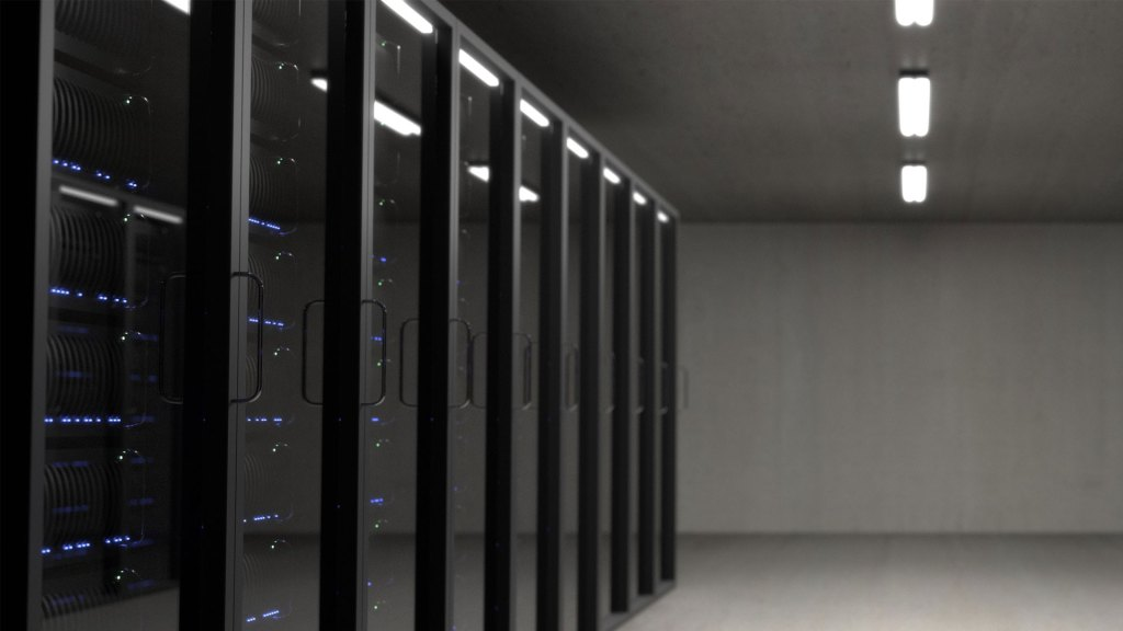 Computer servers in a bare room