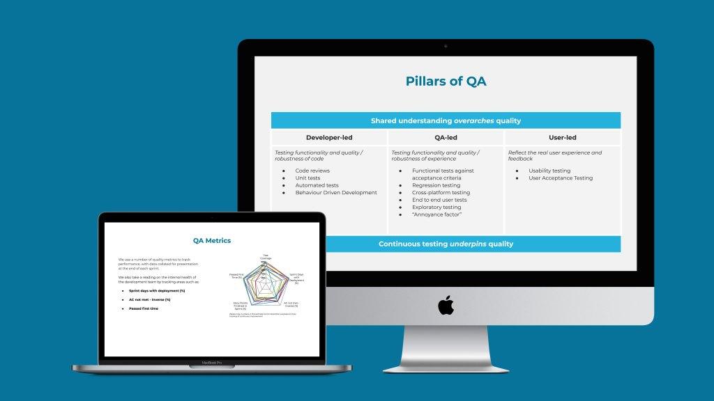 Slides showing Pillars of QA and QA metrics