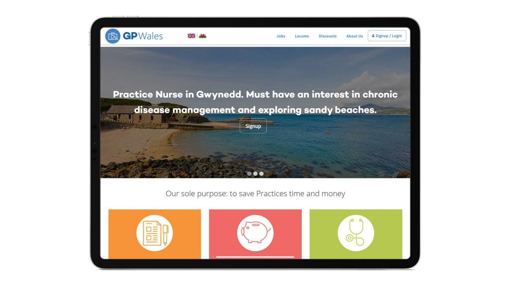 Screenshot showing the main GP Wales site