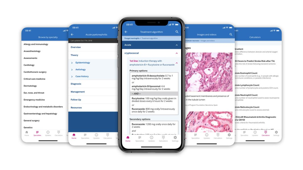 Selection of mobile screenshots showing BMJ Best Practice app