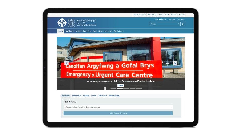 Screenshot of the NHS Wales Hywel Dda University Health Board website