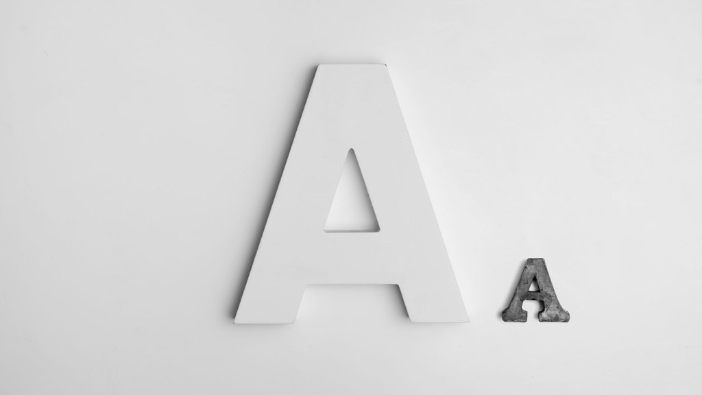 Large and small letter 'A' characters