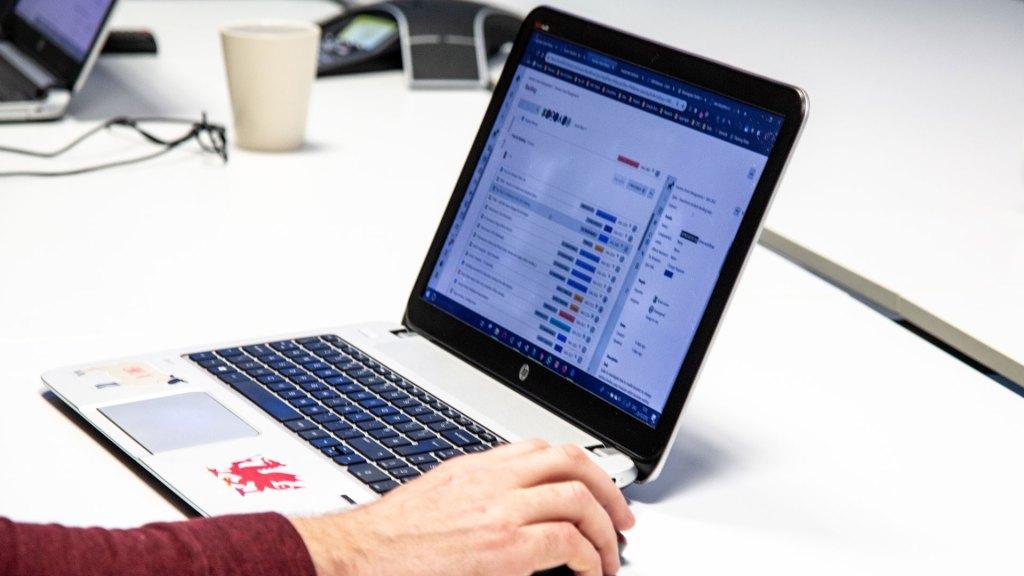 Project plan on laptop screen