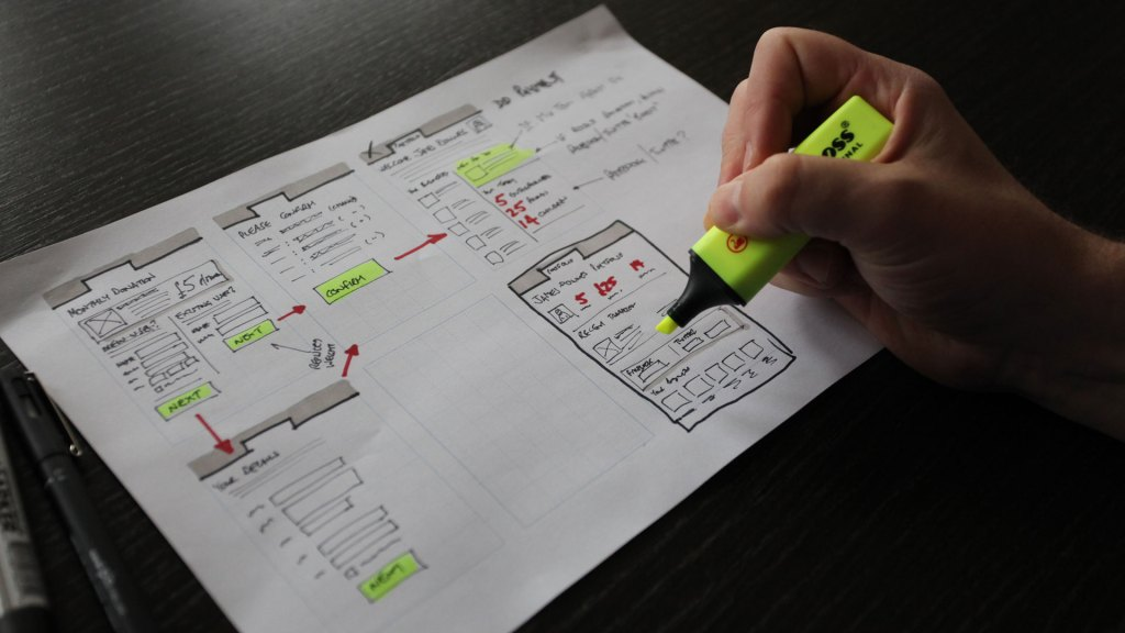 UX consultant working on user interface wireframe design