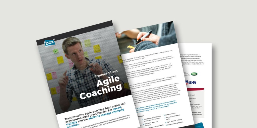 Spread showing pages from Agile Coaching product sheet