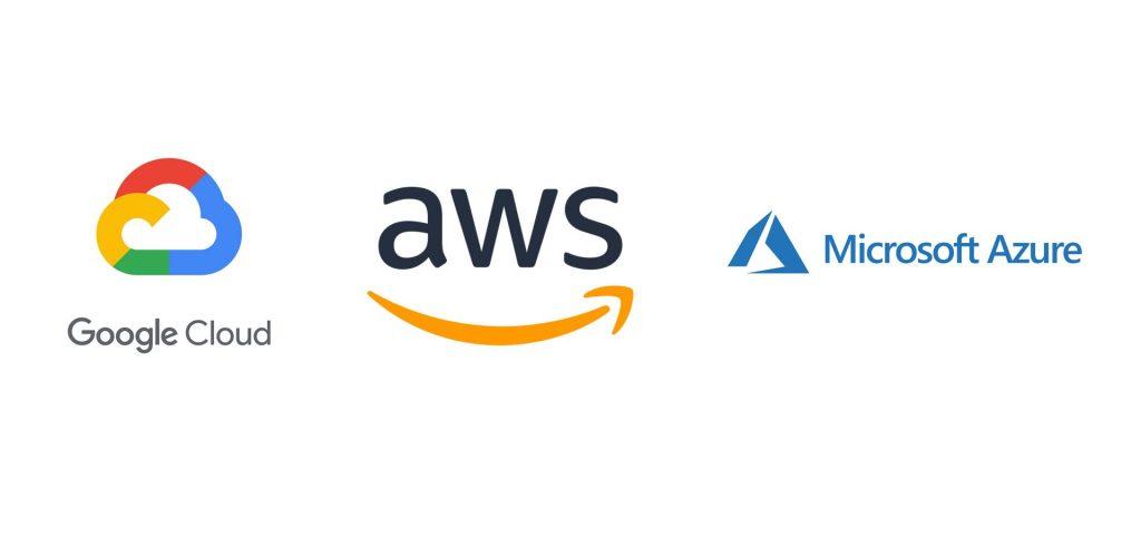 Google Cloud, AWS and Microsoft Azure logos