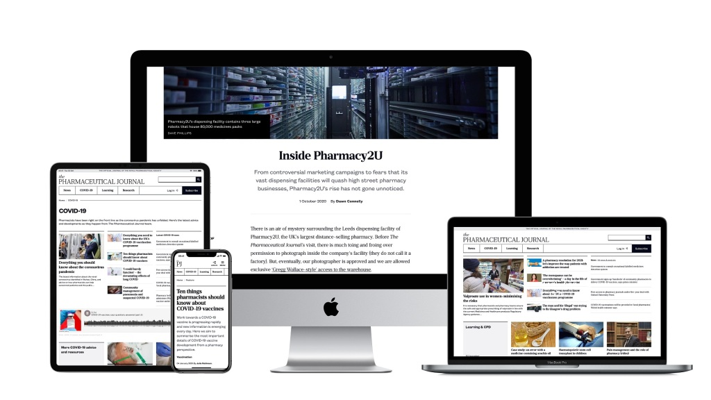 Selection of screenshots of the Pharmaceutical Journal website on a range of devices