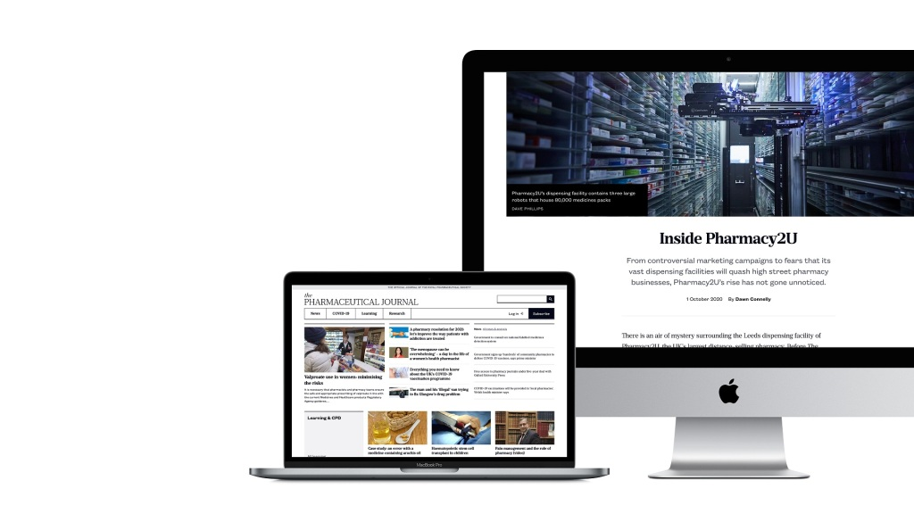 Screenshots of the Pharmaceutical Journal website on a desktop and laptop