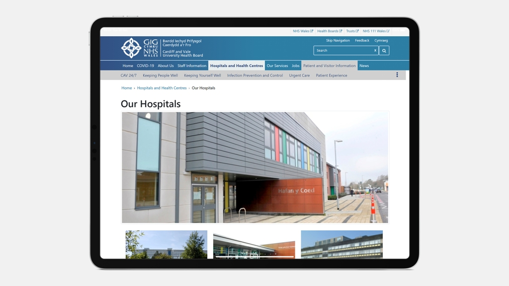 Screenshot of the NHS Wales Cardiff and Vale University Health Board website